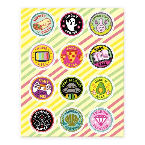 Pop Culture Merit Badge Sticker and Decal Sheet