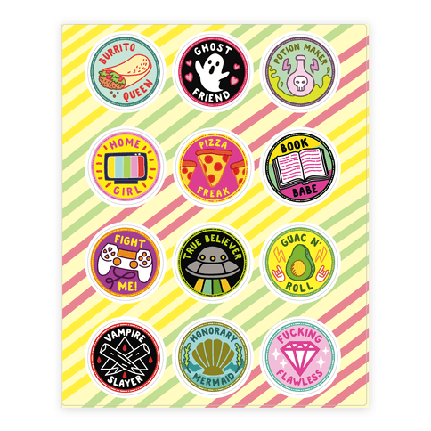 Pop Culture Merit Badge  Sticker/Decal Sheet