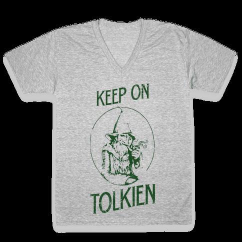 Keep On Tolkien! (Tank) V-Neck Tee Shirt