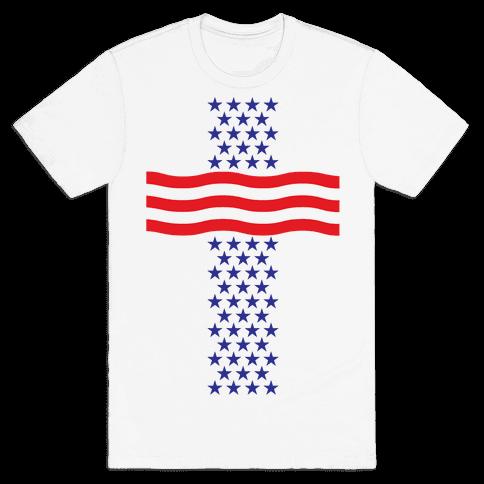 America Cross Mens T-Shirt