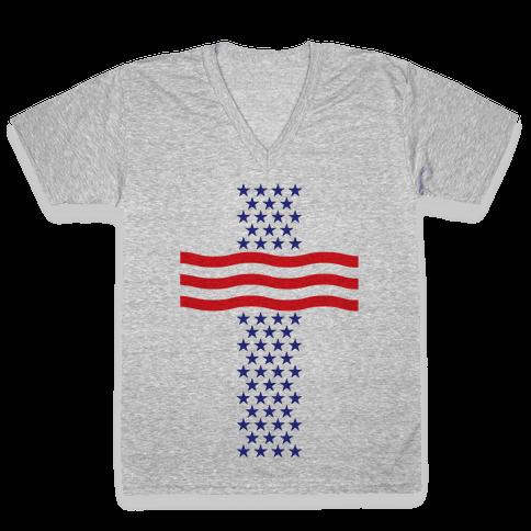 America Cross V-Neck Tee Shirt