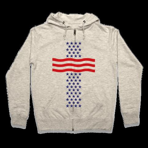 America Cross Zip Hoodie