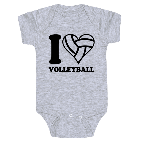 I Love Volleyball Baby Onesy