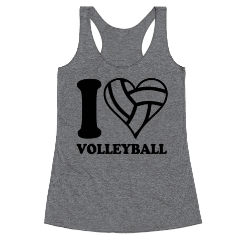 I Love Volleyball Racerback Tank Top