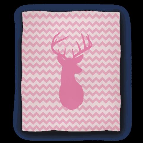Pink Chevron Stripe Deer Silhouette Blanket