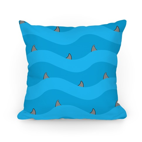 Blue Shark Fins Waves Pattern Pillow