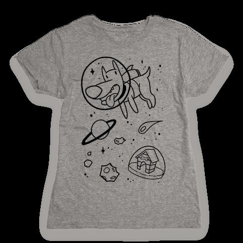Blast Off Space Dog Womens T-Shirt