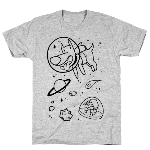 Blast Off Space Dog Mens T-Shirt