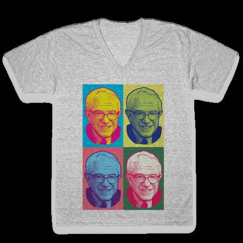 Pop Art Bernie Sanders V-Neck Tee Shirt