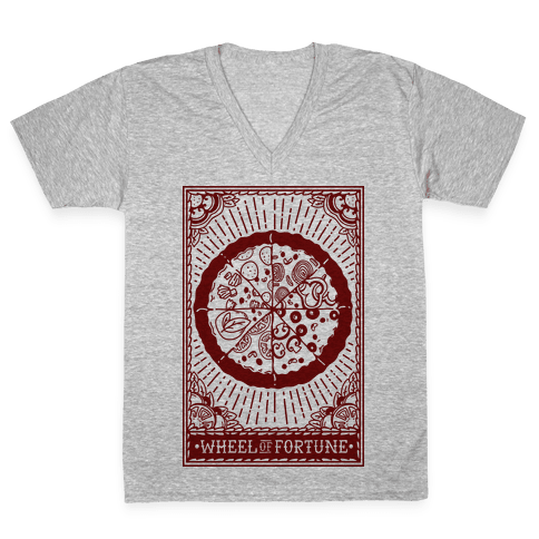 Pizza Wheel of Fortune Tarot Card V-Neck Tee Shirt