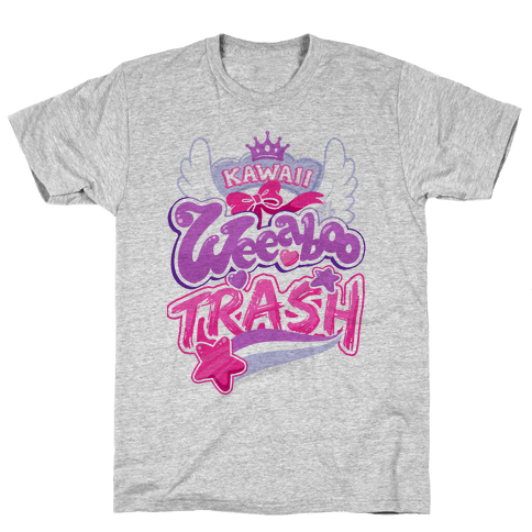 Kawaii Weeaboo Trash Anime Logo Mens/Unisex T-Shirt