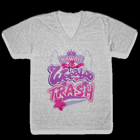 Kawaii Weeaboo Trash Anime Logo V-Neck Tee Shirt