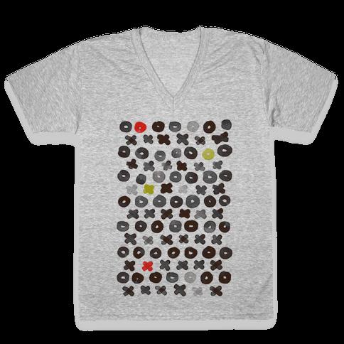 XOXO Hugs and Kisses Pattern V-Neck Tee Shirt