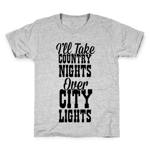 Country Nights Over City Lights Kids T-Shirt
