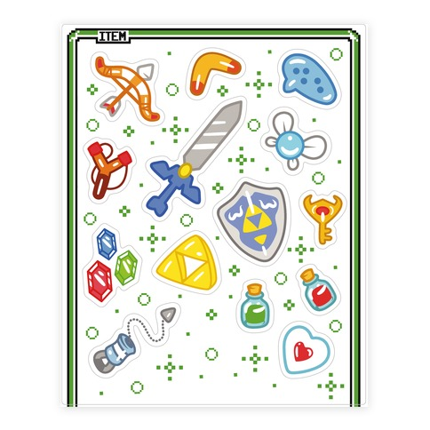 Link's Inventory  Sticker and Decal Sheet