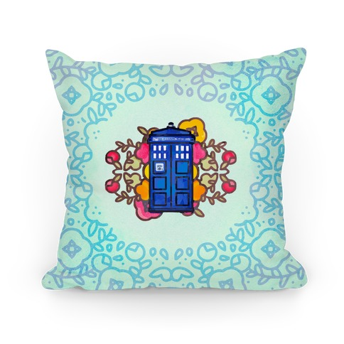Watercolor Doctor Who Icon (Tardis) Pillow Pillow