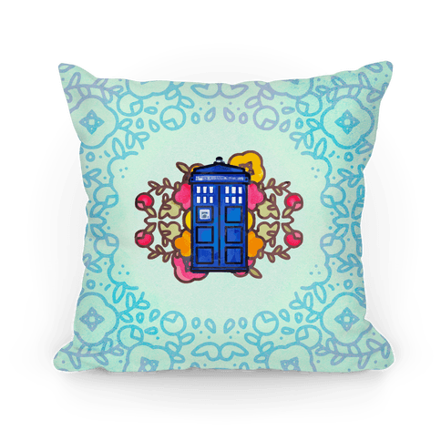 Watercolor Doctor Who Icon (Tardis) Pillow