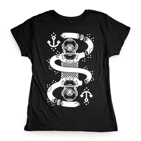 Diver Chopped and Reflected Womens T-Shirt