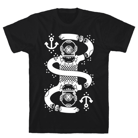 Diver Chopped and Reflected Mens T-Shirt
