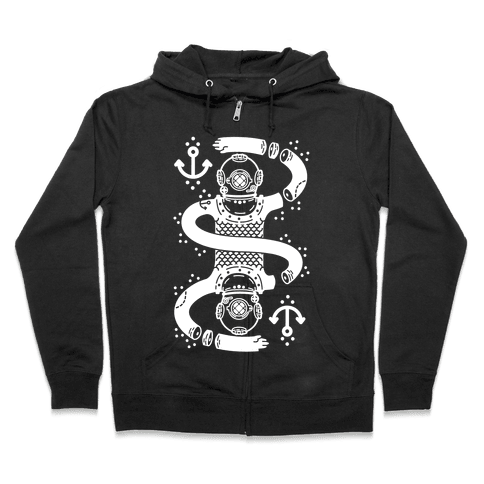 Diver Chopped and Reflected Zip Hoodie