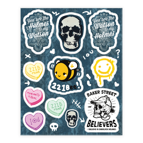 Sherlock Holmes Themed  Sticker/Decal Sheet