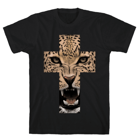 Leopard Cross Mens T-Shirt