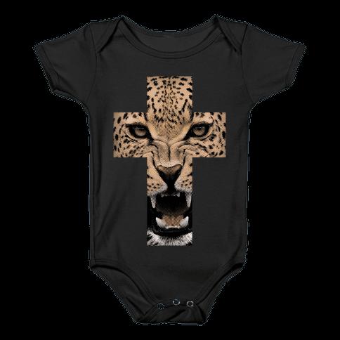 Leopard Cross Baby Onesy