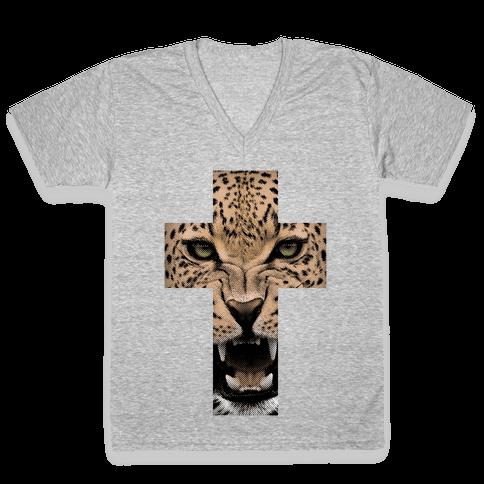 Leopard Cross V-Neck Tee Shirt