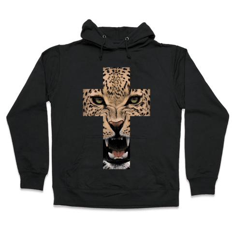 Leopard Cross Hooded Sweatshirt