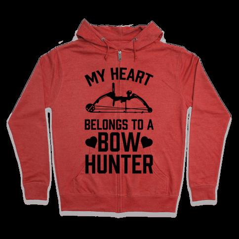My Heart Belongs To A Bow Hunter Zip Hoodie