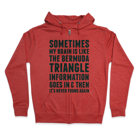 Sometimes My Brain Is Like The Bermuda Triangle Zip Hoodie