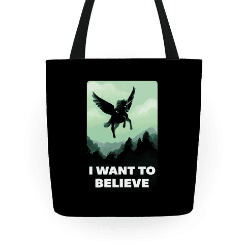Winged Unicorn: I Want To Believe Parody Tote