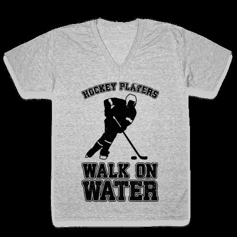 Hockey Players Walk On Water V-Neck Tee Shirt