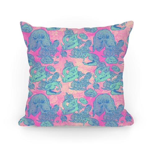 Skulls and Flowers Pillow Pillow