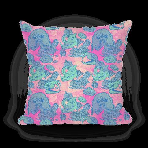Skulls and Flowers Pillow Pillow