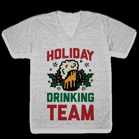 Holiday Drinking Team V-Neck Tee Shirt