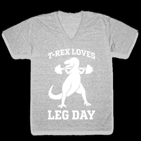 T-Rex Loves Leg Day V-Neck Tee Shirt
