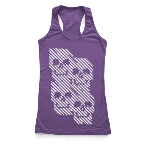 Repeating Skull Bars Racerback Tank Top