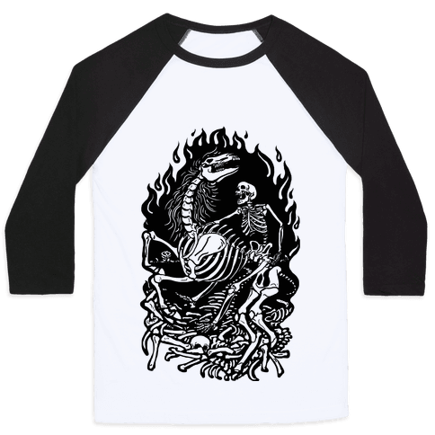 Skeleton War Baseball Tee