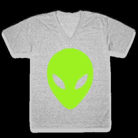 Alien Head V-Neck Tee Shirt