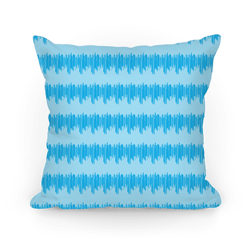 Blue Radio Wave Pattern Pillow