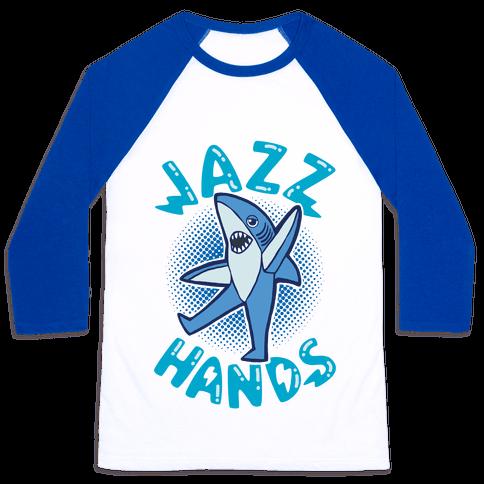 Left Shark Jazz Hands Baseball Tee