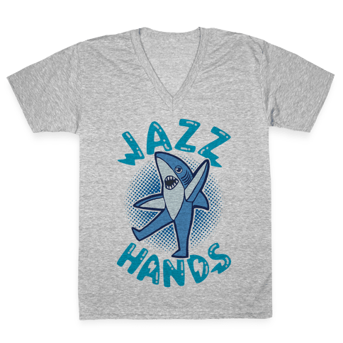 Left Shark Jazz Hands V-Neck Tee Shirt