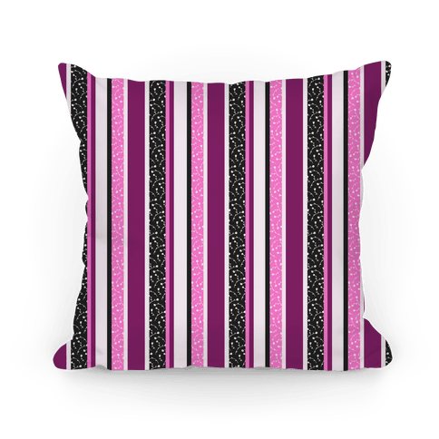 Spring Floral Stripes (Pink and Purple) Pillow