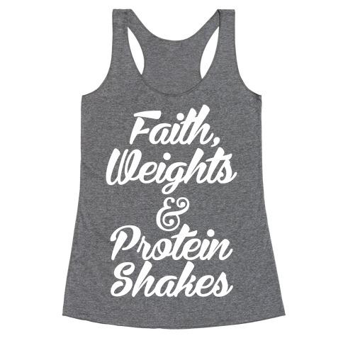 Faith Weights Protein Shakes Racerback Tank Tops Lookhuman