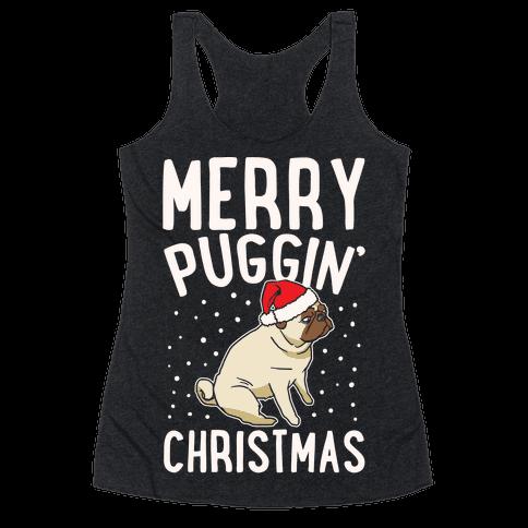 Merry Puggin' Christmas Pug White Print Racerback Tank Top