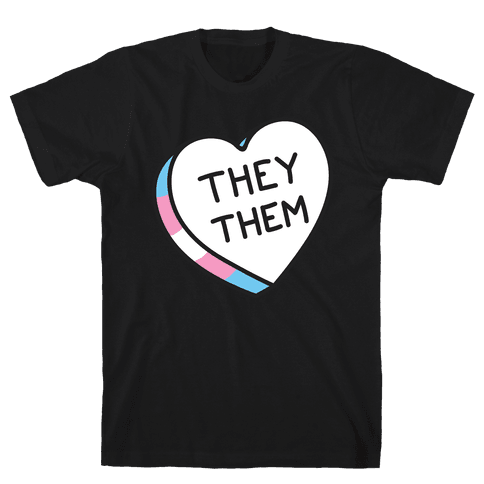 They Them Candy Heart Mens T-Shirt