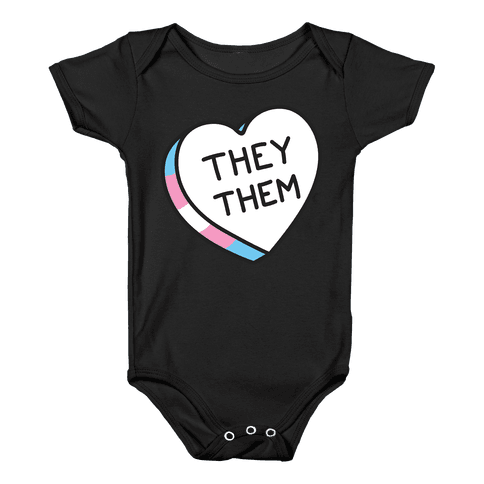 They Them Candy Heart Baby Onesy