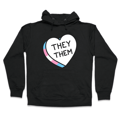 They Them Candy Heart Hooded Sweatshirt