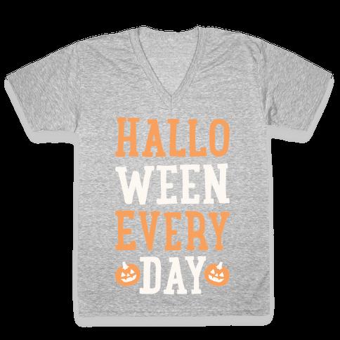 Halloween Every Day (White) V-Neck Tee Shirt